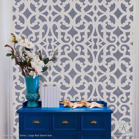 Large Exotic Trellis Wall Stencils For DIY Painting Royal Design Studio Stencils