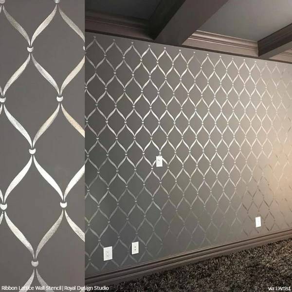 Ribbon Lattice Wall Stencils For Decorating Home Decor Royal Design Studio Stencils