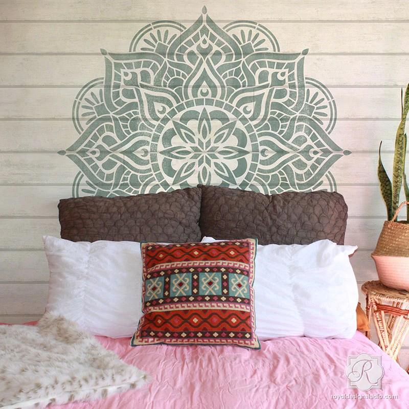 Cute Elephant Design Wallpaper Large Mandala Wall Art Stencils For Painting Boho Bedroom