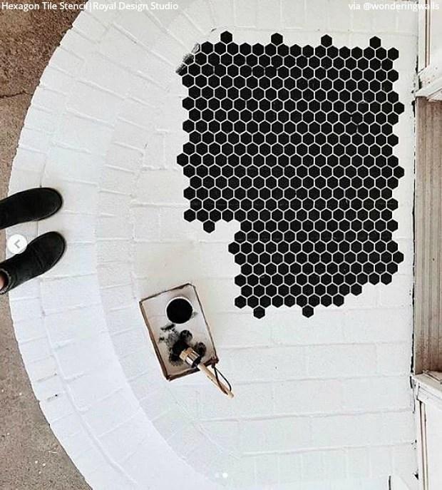 hexagon shape tiles floor stencils