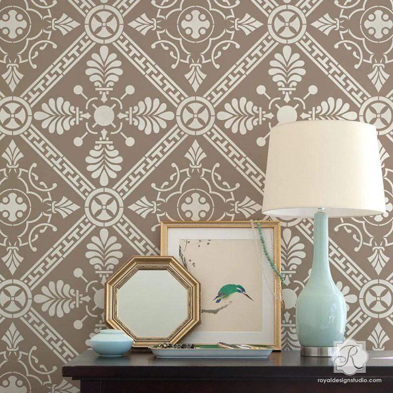 Grecian Tile Damask Wall Stencil Greek Pattern For DIY Home