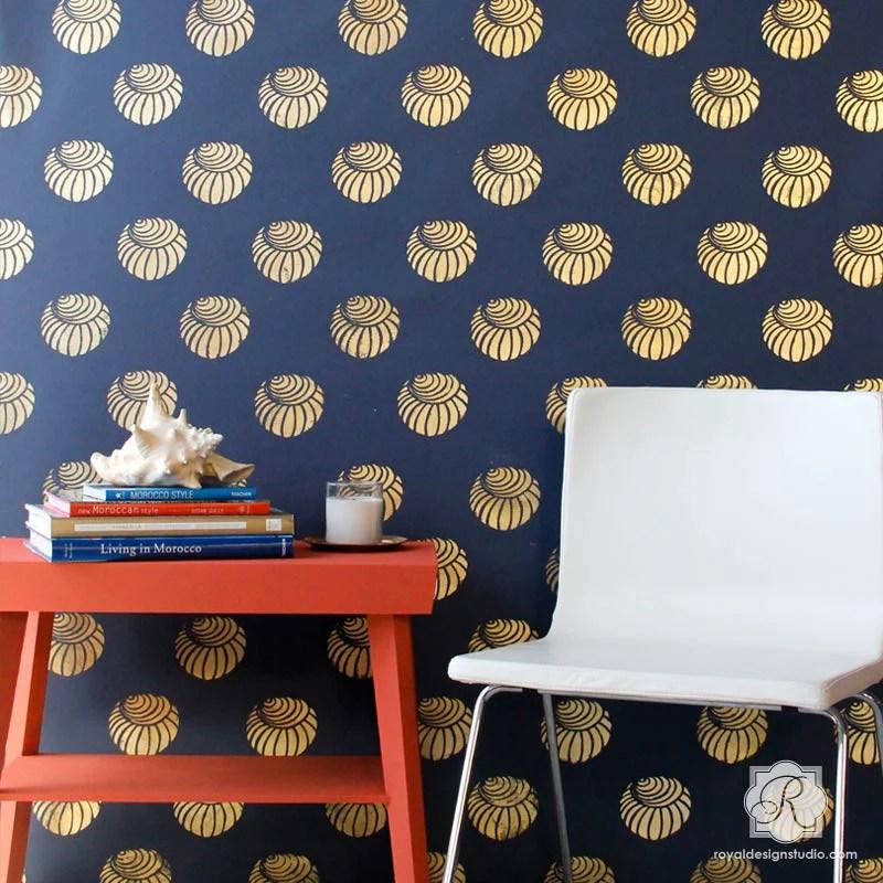Perch Shell Pattern Wall Stencil Royal Design Studio