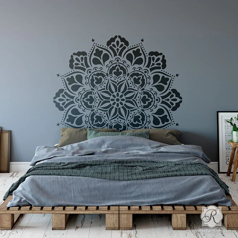 Large Mandala Wall Art Stencils For Painting Boho Bedroom Mural Design Painting Mandala Designs With Wall Art Stencils For Boho Bedroom Makeover Royal Design Studio Stencils