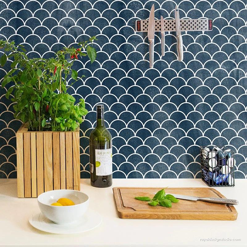 moroccan scallops furniture stencil