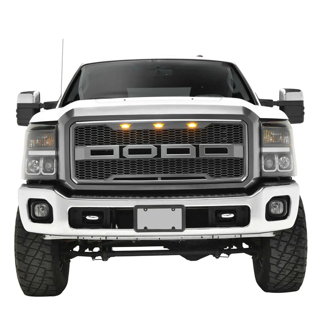 for 11 16 ford f250 f350 grille front replacement led gray abs upper raptor [ 1024 x 1024 Pixel ]