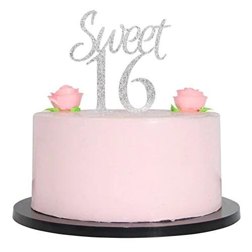 silver sweet 16 cake