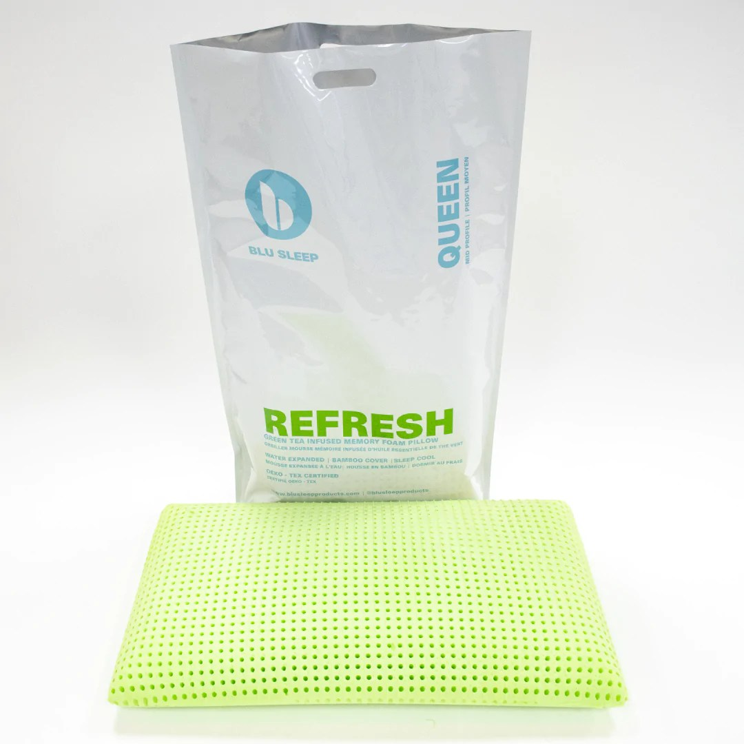 refresh memory foam pillow infused with green tea oil
