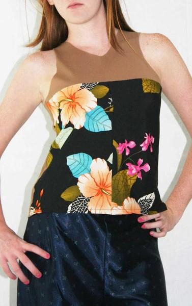India Silk Print & Mesh Top