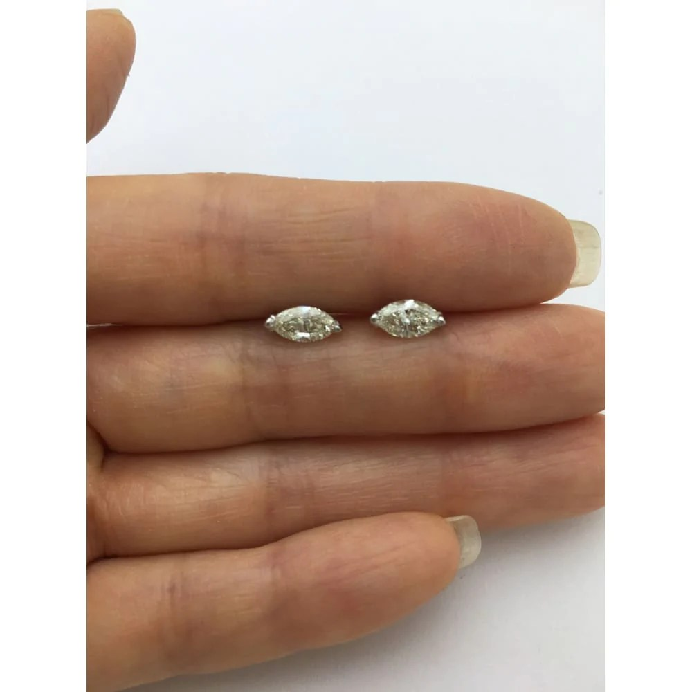Luxinelle Usa - 1.19 Carat Marquise Diamond Solitaire Stud