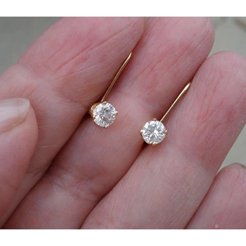 Luxinelle Usa - 1 2 Carat Diamond Earrings Solitaire Leverback Drop 14k Yellow Gold