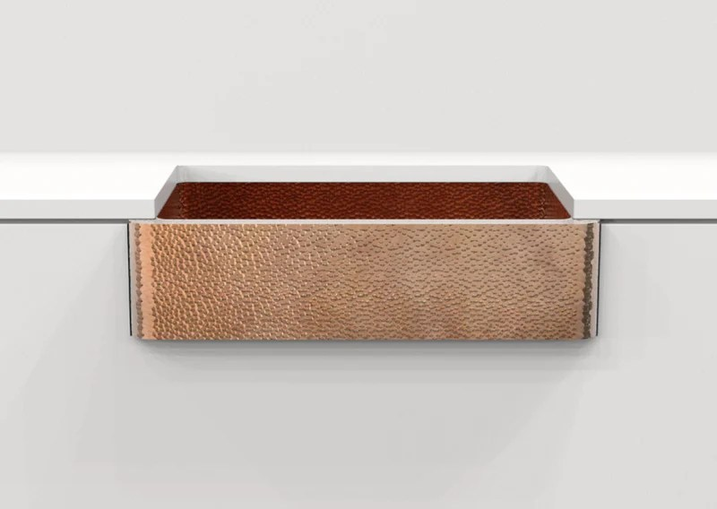 hand hammered copper farmhouse sink madero 36