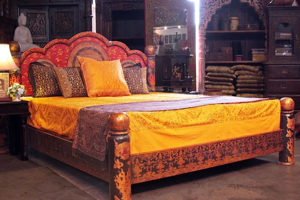 Indian Style Beds Mandala Low Pillar Arch Canopy  Tara Design