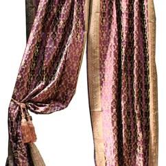 Eggplant Sofa Brown Fabric Indian Sari Decorative Drapes & Window ...