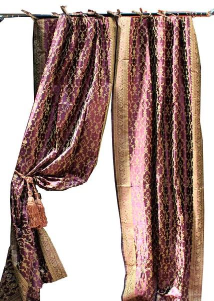 Indian Sari Fabric Eggplant Decorative Drapes Amp Window Treatments Tara Design