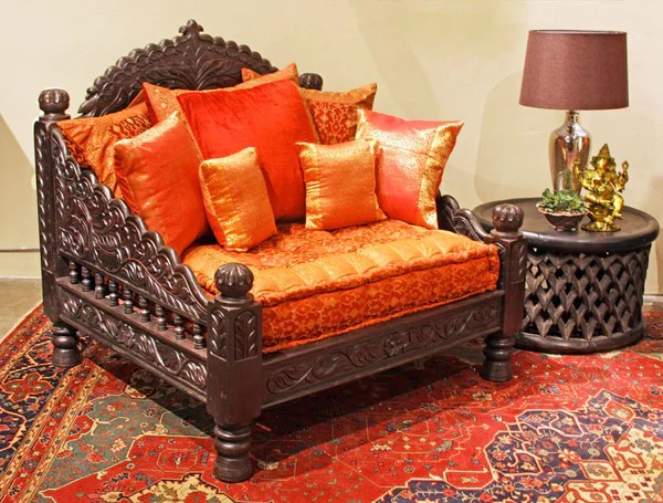living room design indian style simple interior for jhula single seat-indian hand carved furniture- chair ...