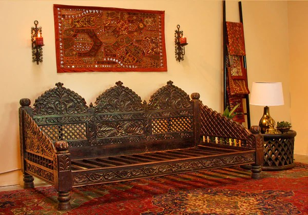 Indian Carved Jhula Sofa DayBed  Indoor or Outdoor at TaraDesigncom  Tara Design