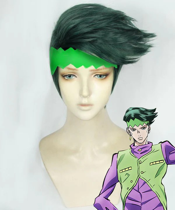JoJo's Bizarre Adventure: Diamond Is Unbreakable Rohan Kishibe Deep Green Cosplay Wig