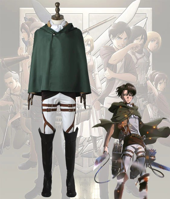 Attack On Titan Shingeki No Kyojin Levi Ackerman Scout Regiment Battle Uniform Cosplay Costume