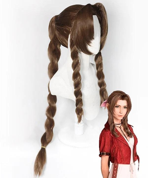 Final Fantasy VII remake FF7 Aerith Gainsborough Aeris Brown Cosplay Wig