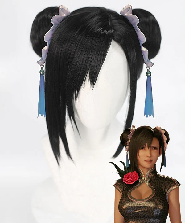 Final Fantasy VII Remake FF7 Tifa Lockhart Cheongsam Black Cosplay Wig
