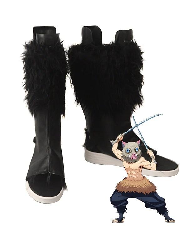 Demon Slayer: Kimetsu No Yaiba Inosuke Hashibira Black Shoes Cosplay Boots