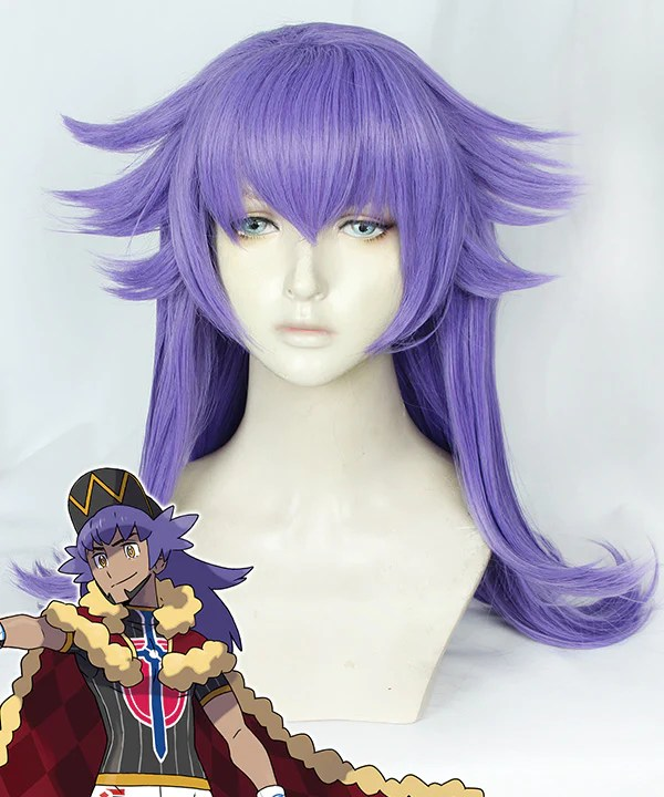 Pokemon Pok��mon Sword And Pok��mon Shield Leon Purple Cosplay Wig