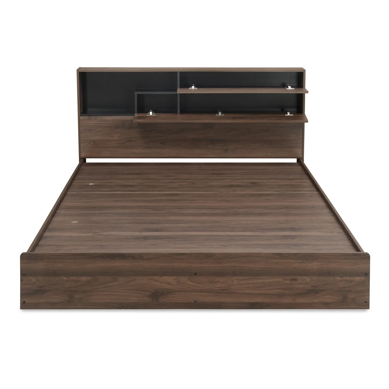 Grazia King Bed With Headboard Storage Black Nilkamal At Home Home