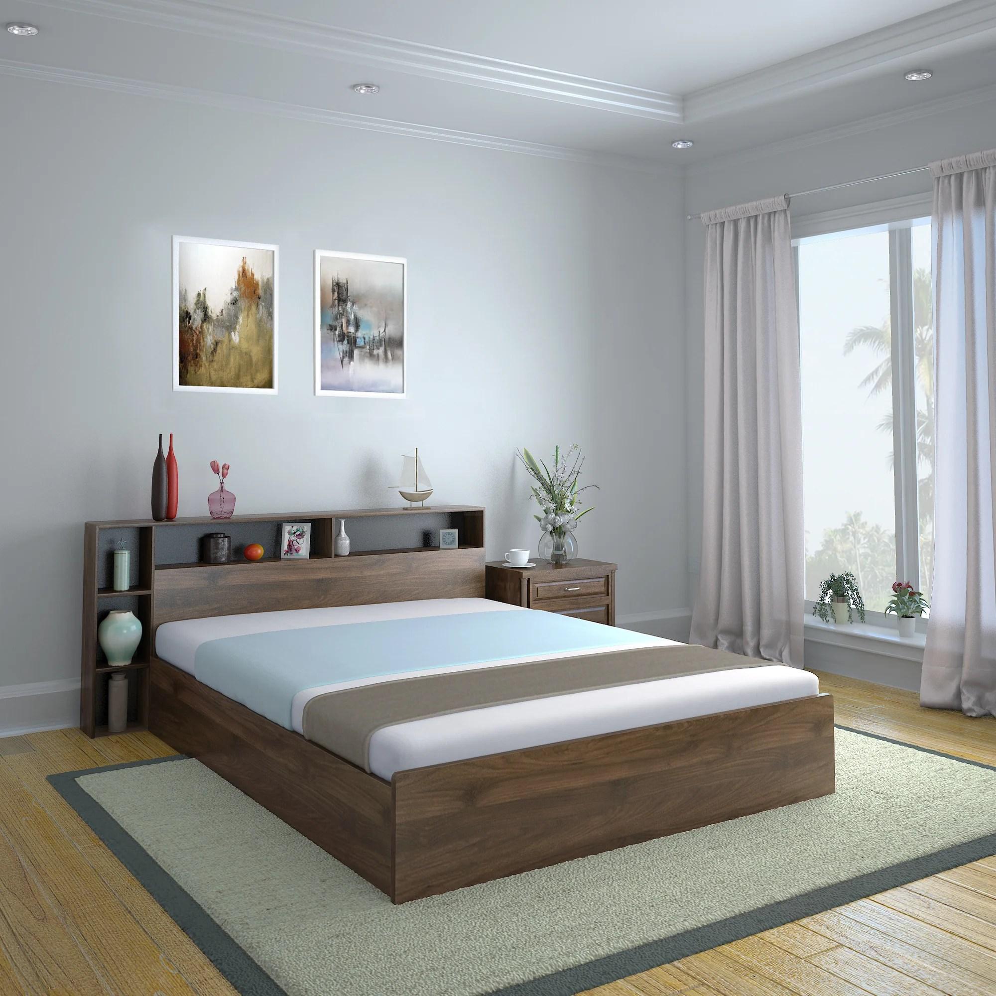 Torrie King Bed With Headboard Box Storage Black Nilkamal At Home Home