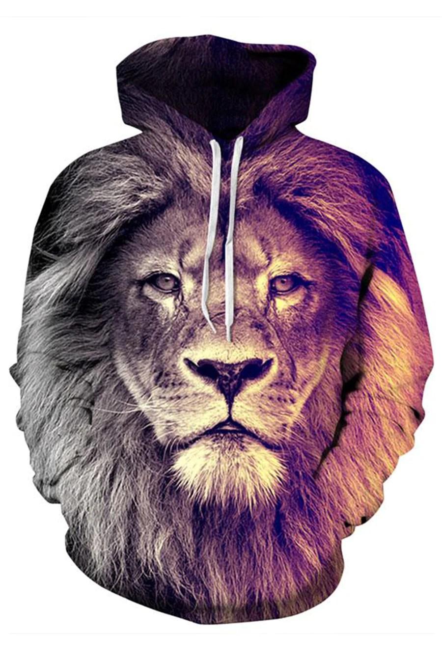 fierce lion 3d hooded