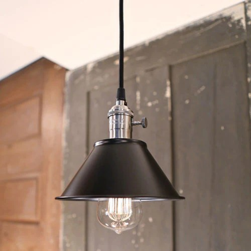 modern black industrial style pendant light ceiling hung fixture satin nickel hardware 7 inch