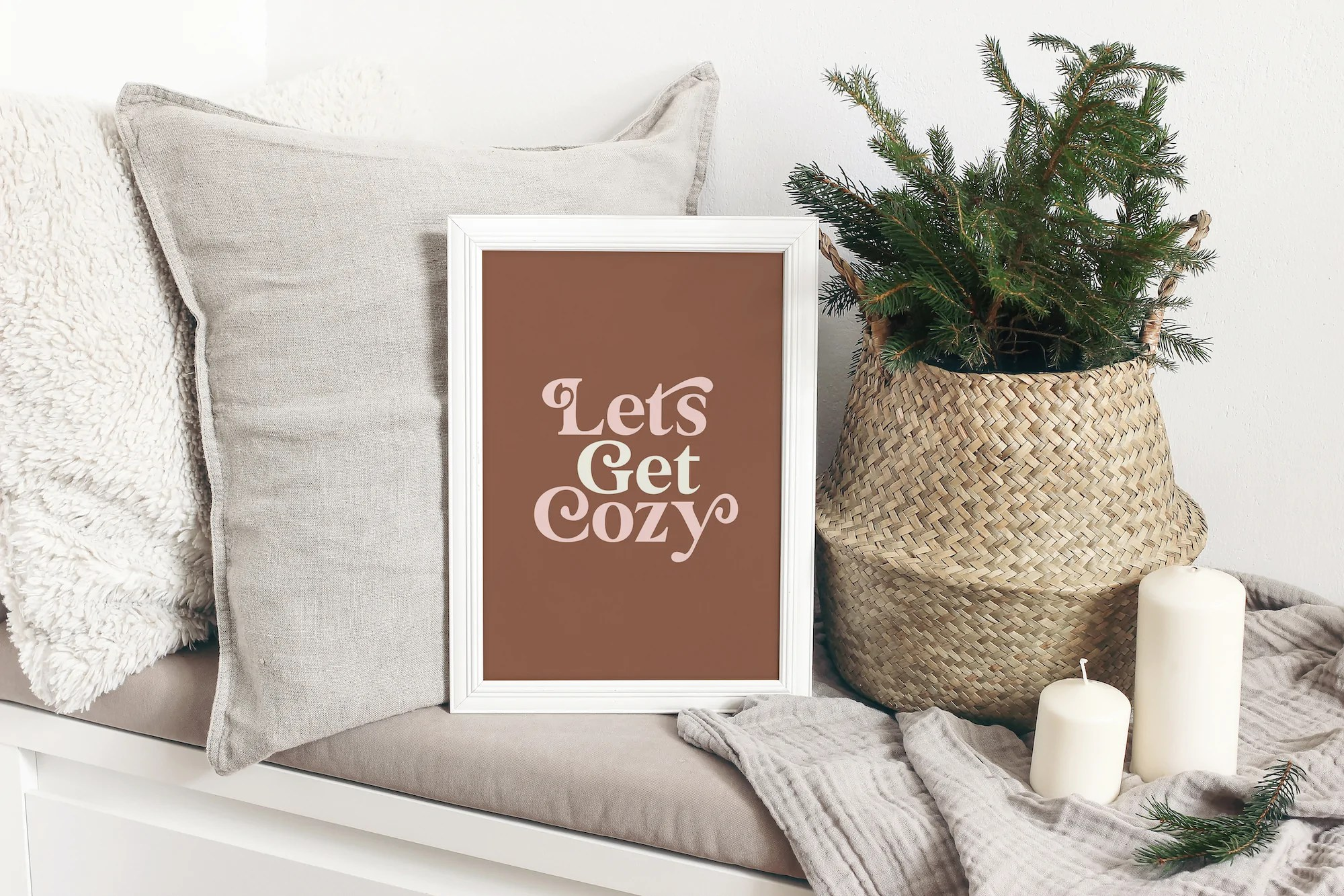 let s get cozy by motivated type framed print