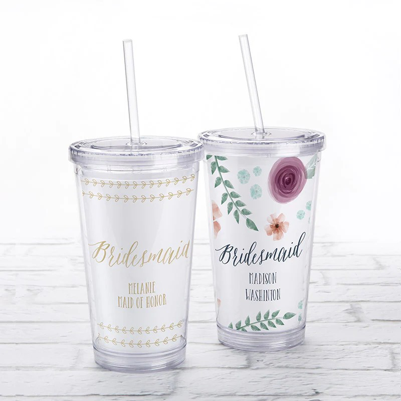 Acrylic Tumbler With Personalized Insert Bridesmaid