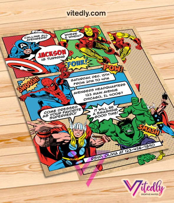 avengers birthday invitation vitedly
