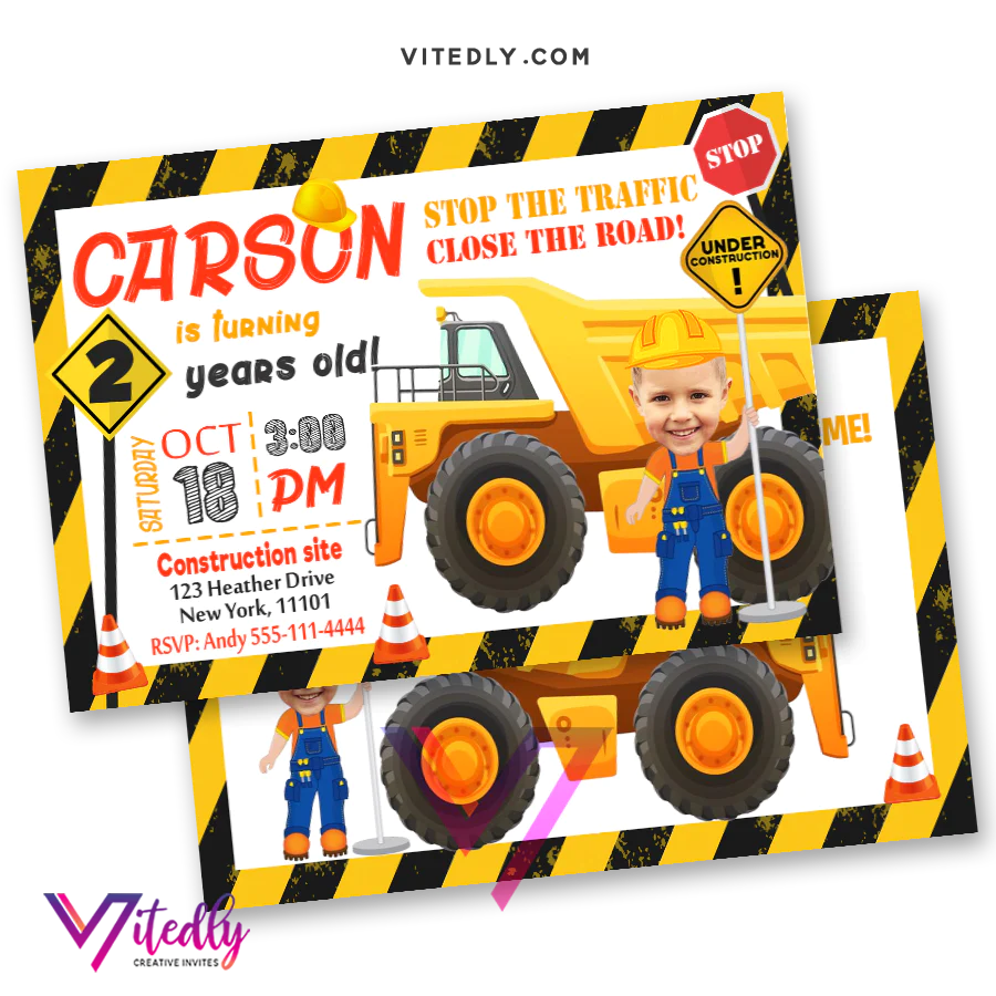 dump truck invitation with custom face and free thank you card