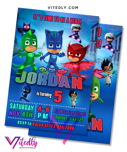 pj mask birthday invitation pj mask