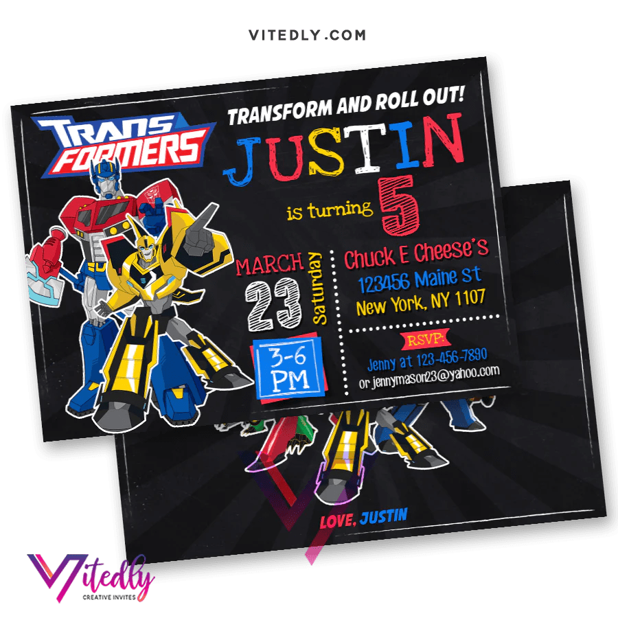 transformers birthday invitation with free thank you card
