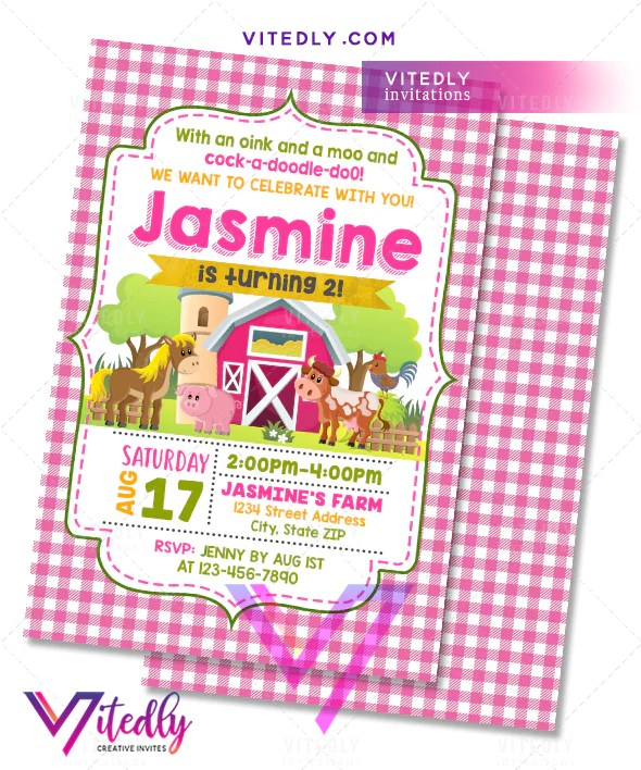 barnyard theme party invitations for girls