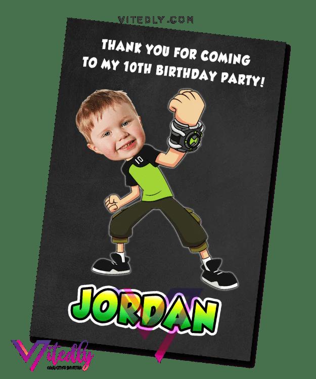 ben 10 birthday invitation with free thank you card ben 10 invitation