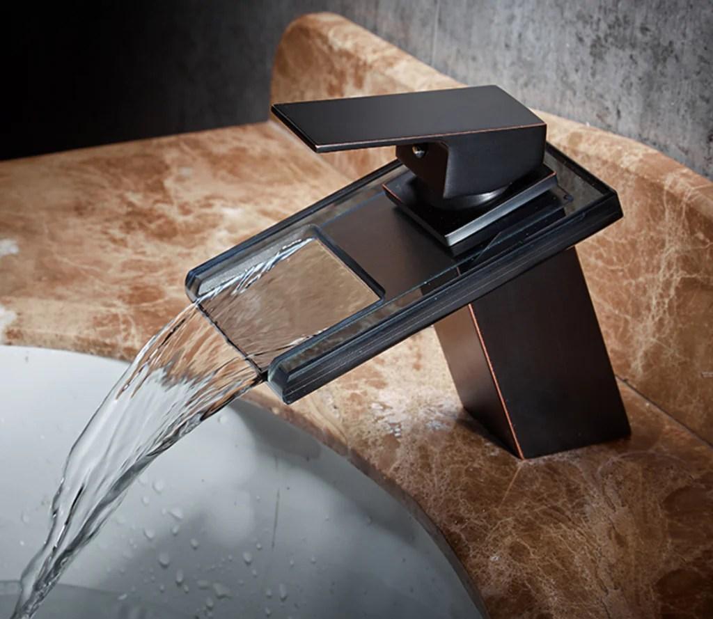 modern black waterfall faucet tap