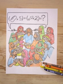 Jesus Feeds 5000 Printable Coloring Page