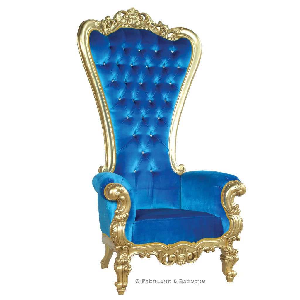 Royal Blue Chair Gryphon Reine Chair Gold Royal Blue Velvet
