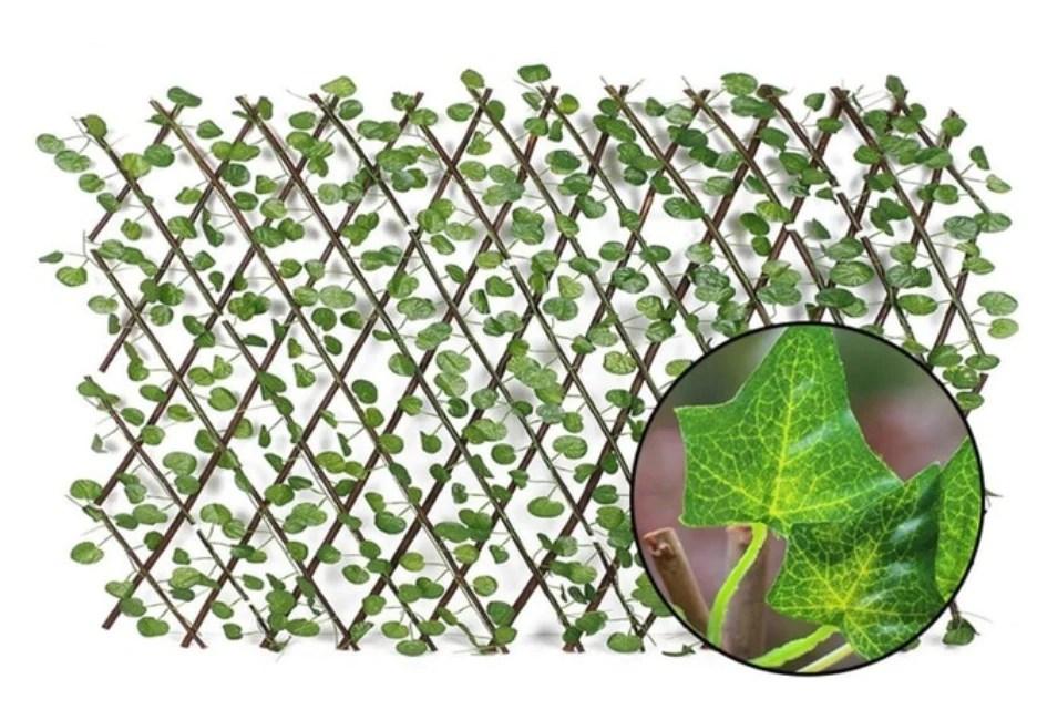 cloture brise vue haie avec feuilles treillis extensible
