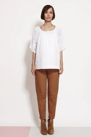Pleat Front White Shirt