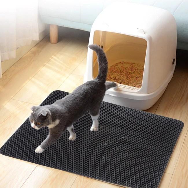 tapis de litiere pour chat a double couche anti projection de grains de litiere