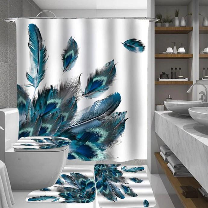 blue peacock shower curtain bathroom accessory set