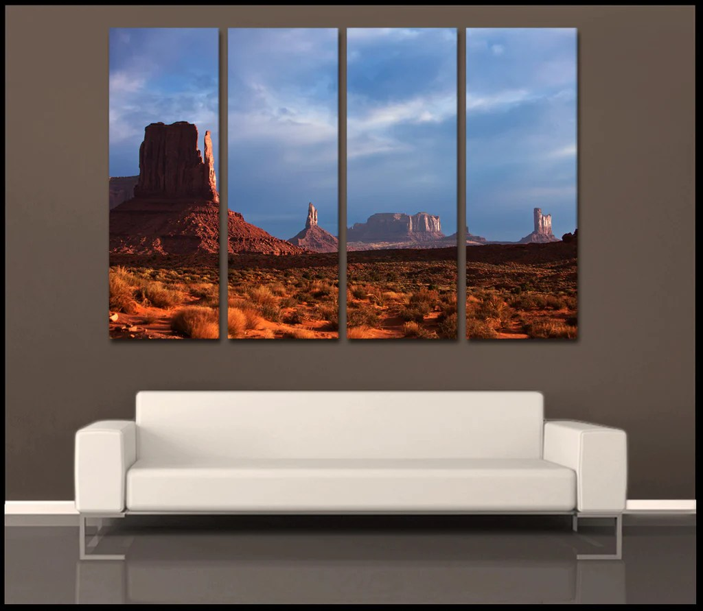 """""""monument Valley Glow"""" 4-piece Fine Art Wrapped"""