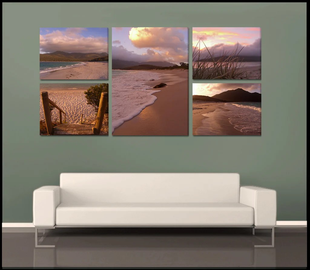 """wineglass Bay Sunrise"" Tasmania 5 Piece Fine Art"