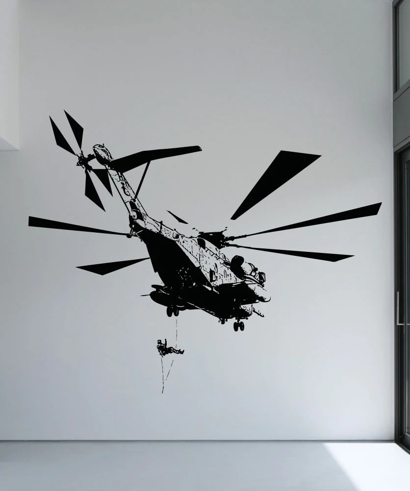 Vinyl Wall Decal Sticker Helicopter Drop Off 5056
