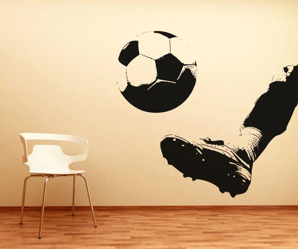 Vinyl Wall Decal Sticker Kicking Soccer Ball 5077