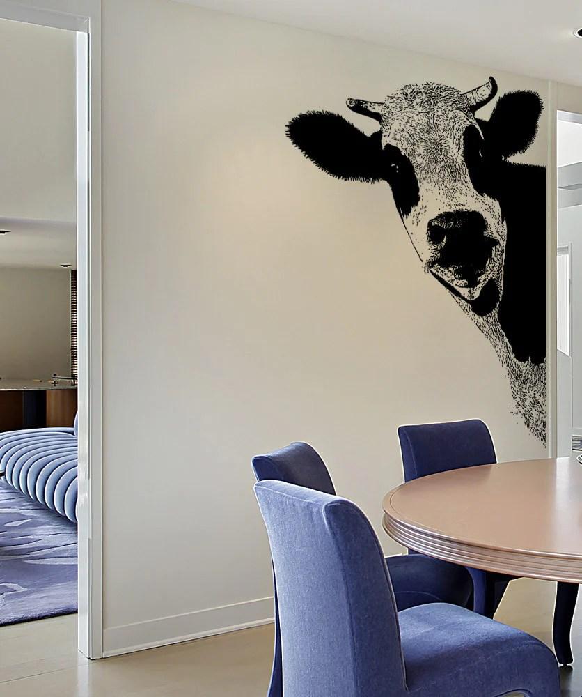 Vinyl Wall Decal Sticker Peeking Cow 5476